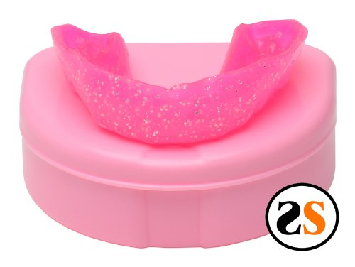 Girls Pink Sparkle Custom Professional Dental Mouth Guard by SportingSmiles