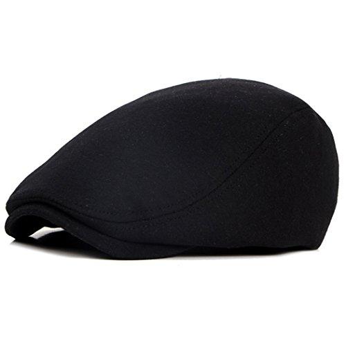 (Beret-Hat-for-Men-French Newsboy-Flat-Gatsby-Cap Cotton-Adjustable Black - Ivy Irish Hats Cabbie Driving)