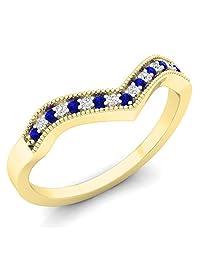 10K Gold Round Blue Sapphire & White Diamond Wedding Stackable Band Anniversary Guard Chevron Ring