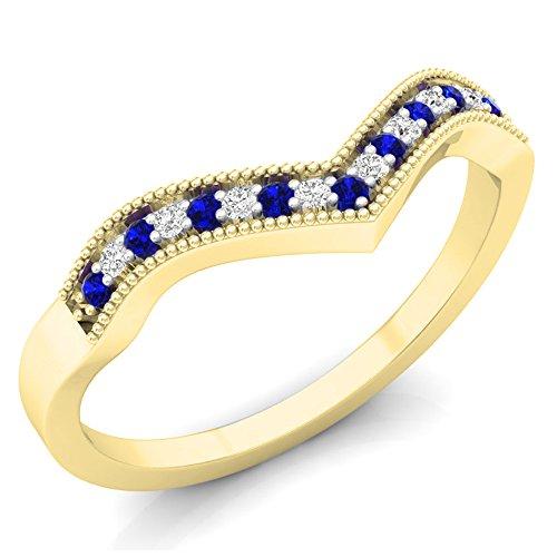 Dazzlingrock Collection 10K Round Blue Sapphire & White Diamond Wedding Band Anniversary Chevron Ring, Yellow Gold, Size 10