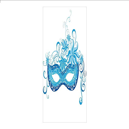 Decorative Privacy Window Film/Venetian Style Mask Majestic Impersonating Enjoying Halloween Night Theme/No-Glue Self Static Cling for Home Bedroom Bathroom Kitchen Office Decor Blue and Sky -