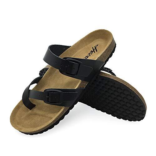 FUNKYMONKEY Women's Mayari Leather Sandal Cross Toe Double Strap Cork Flip Flops (6 M US-Women, Black/flipflops02/women)