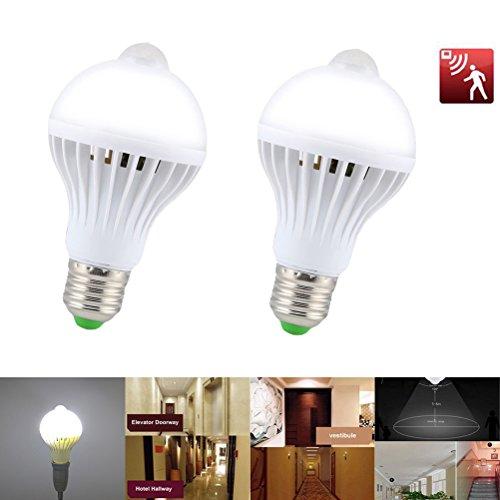 Ralbay 9W Ampoule Détecteur de Mouvement E27 LED PIR Blanc Froid à LED Éclairage Décoratif pour Couloir, Garage, Escalier, Jardin, Cour, 2 pièce