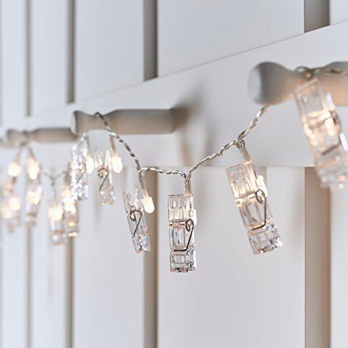 Lights4fun Cadena de Luces a Pilas con 10 LED Blanco C/álido y Pinzas
