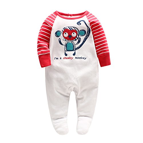 Baby Boy Footie Romper Newborn One-Piece Jumpsuit Stripe Sleeve Bodysuit Pajamas