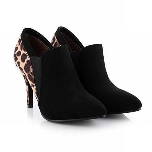 Latasa Mujer's Fashion Leopard Print Negro Con Tacón Alto De Tacón Alto Botines Chelsea Botas De Vestir De Leopardo