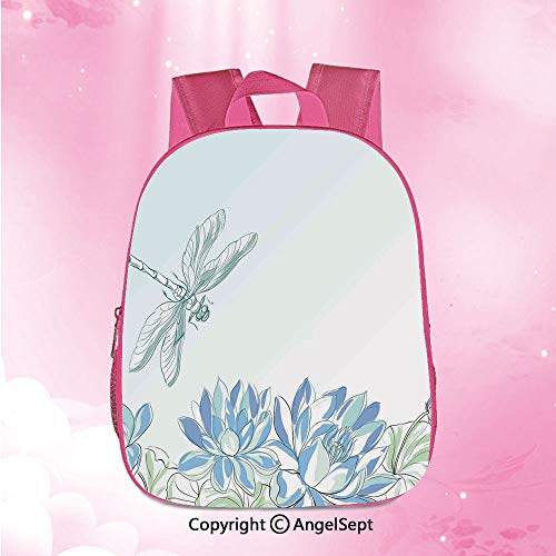 Unisex Classic Lightweight Water-resistant Backpack,Waterlilies Flowers and Dragonflies Simplistic Design Eco Nature Theme ArtworkBlue Green12.6inches,Preschool Kindergarten Travel Bag for Girls Boys