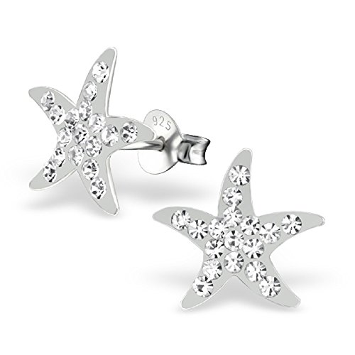 925 Sterling Silver Crystal Starfish Stud Earrings 21837