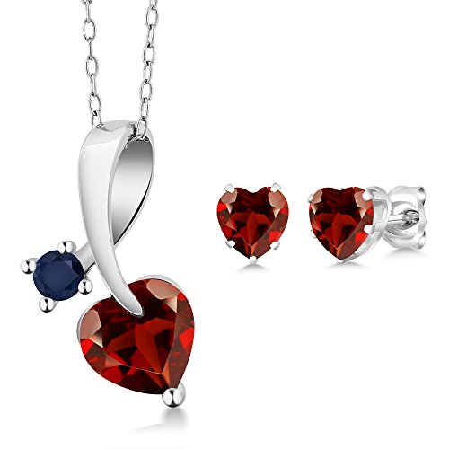 Shape Pink Sapphire Gemstone - Gem Stone King 2.53 Ct Heart Shape Red Garnet 925 Sterling Silver Pendant Earrings Set