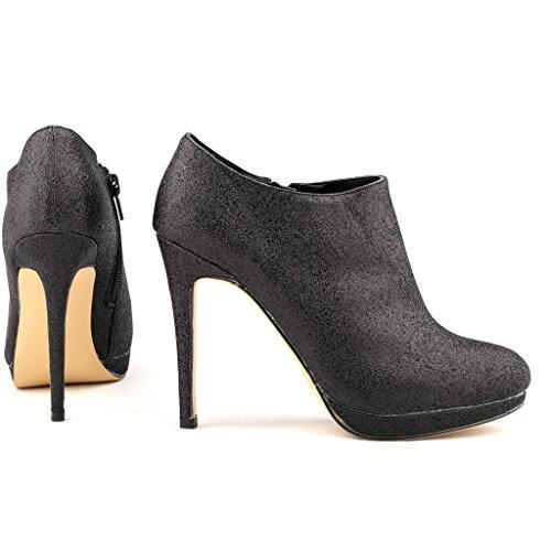 Ankle High ZriEy Boots Sexy Glitter Heels Women's Platform Black Glitter UwAFtY