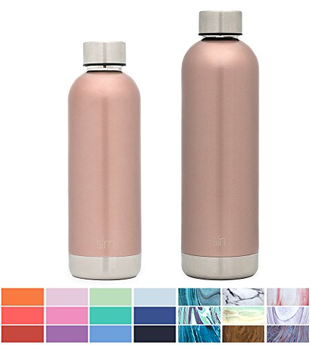 Simple Modern 25oz Bolt Water Bottle - Stainless Steel Hydro Swell Flask - Double Wall Vacuum Insulated Reusable Gold Small Kids Coffee Tumbler Leakproof Thermos - Rose Gold