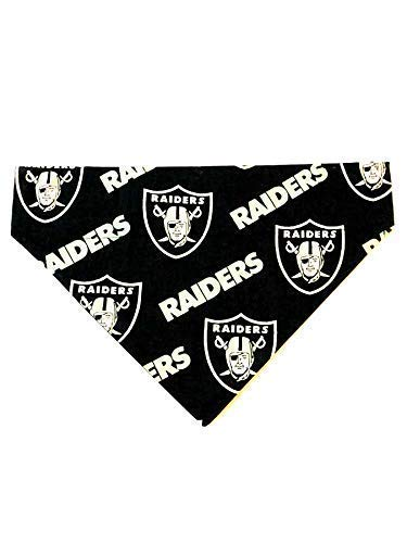 Oakland Raiders black Pet No-Tie Dog Bandana]()