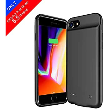 7 Black, iPhone 6 7 8//4.7 6S 6 // Plus with 5000 mAh Extended Battery Pack Light Weight Charge Case BioRing Battery Case for iPhone 8