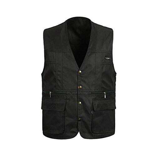 (MonkeyJack Men Polyester Reversible Waistcoat Fishing Hunting Travelling Safari Vest - Black, XXL)