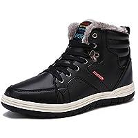 piel Forro Cálido Antideslizante Zapatillas High parte superior Zapatos Invierno–Botas de nieve Casual para hombre