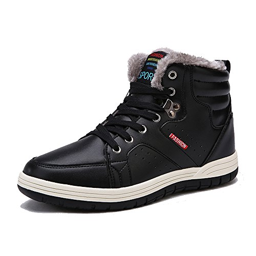 Men Winter Snow Boots Casual Shoes High Top Non-slip Leather Fur Lining Warm Sneaker