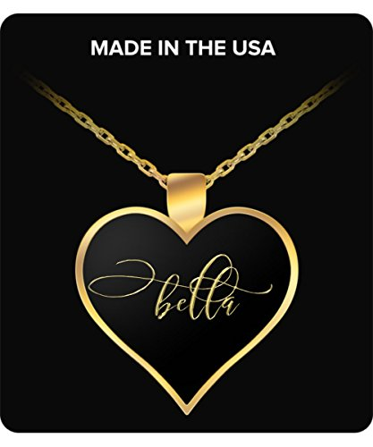 Charm Heart Belle (Bella Name Necklace - Personalized Charm Heart Pendant - Gold/Silver - Lovely Present For Any Occasion - Daughter Gift)