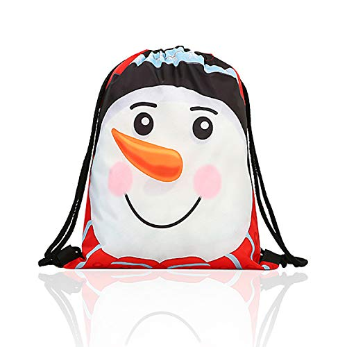 SunTrade Christmas Drawstring Gift Bags,Men Women Backpack,Perfect for Carry Gifts,Candies,Jewelry Storage (White Santa Snowman)
