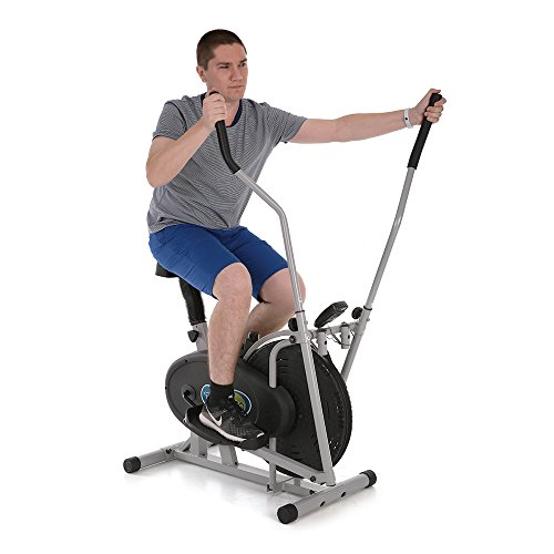 2 in 1 Exercise Bike Height Adjustable Elliptical Machine Cross Trainer Fan Bike Home Gym Workout Fitness Machine