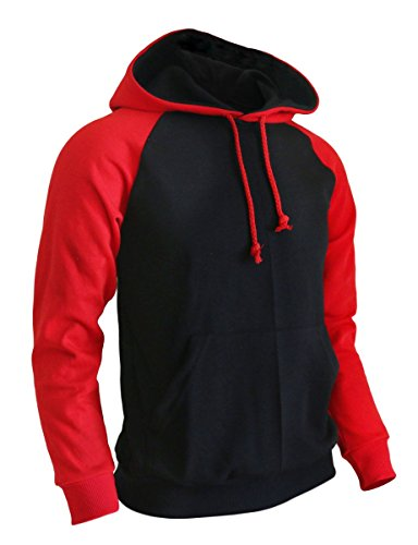 (BCPOLO Men's Pullover Hoodie cotton Raglan Hoodie Fleece Hoodie -black XL)