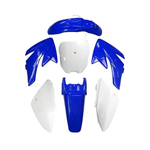JCMOTO Plastic Fairing Kit for Honda CRF70 CRF 70 Dirt Pit Bike Fender parts (4Blue+3White)