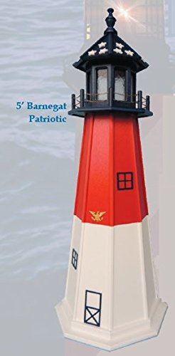 Amish-Made Red, White and Blue Wooden Outdoor Barnegat Replica Lighthouse with 25 Watt Light, 21'' Tall