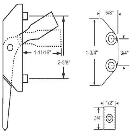 STB Casement Locking Handle, White