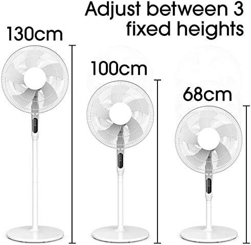 FUTURA Premium 16inch Oscillating Pedestal Standing Fan, Remote Control & Timer 1 – 18Hrs, 50W White, 3 Speed, Adjustable Stand 68-130cm