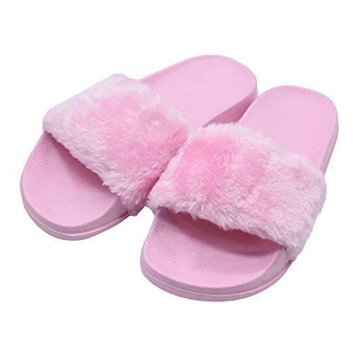 MStar Damen Hübsche Plüsche Hausschuhe Eva Rutschfeste Pantoffeln Outdoor/Indoor in 5 Farben Pink