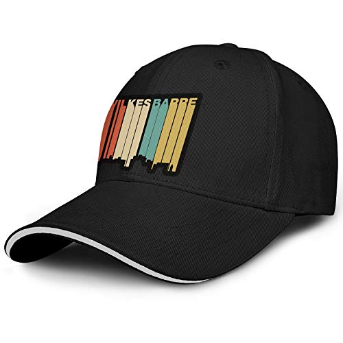 PDAQS Retro 1970's Style Wilkes-Barre Pennsylvania Skyline Mens Trucker Hat Style Hat Adjustable Snapback (University Apparel Wilkes)