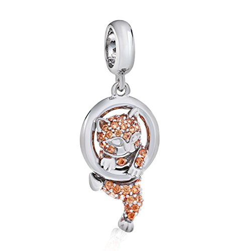 Cat Dangle Charm 925 Sterling Silver Christmas Gift Beads Charm fit for DIY Charms Bracelets by Luckybeads