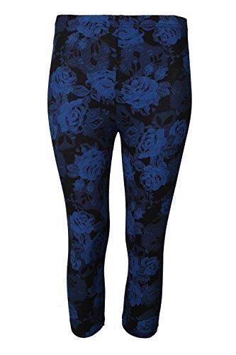 Be Jealous femme imprimé 3/4 leggings longueur femmes extensibles taille PANTALON SKINNY TAILLE 8-22 - noir rose bleue, Plus Size (UK 20/22)