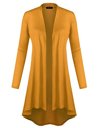 BH B.I.L.Y USA Women's Open Front Lightweight Jersey Classic Long Sleeve Cardigan Mustard X-Large