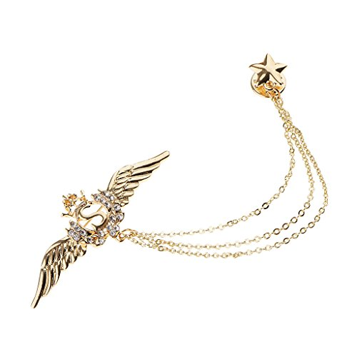 - Homyl Luxury Charms Angel Wings Rhinestone Star Charms Badge Brooch Tassel Badge - Gold