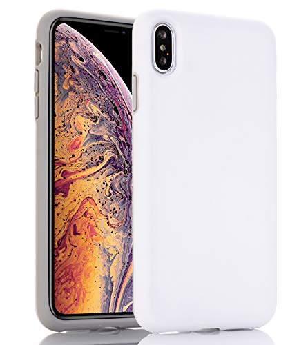 BAISRKE Case for iPhone Xs MAX, Hybrid Heavy Duty Protection Case Hard Plastic & Soft TPU Sturdy Shockproof Armor High Impact Resistant Cover for iPhone Xs MAX [White]