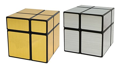 Black Cube Collection - Willking 2X2 Unequal Mirror Speed Cube Silver & Gold Magic Puzzle Toy Collection Black Body Set Of 2 Cubes 50mm