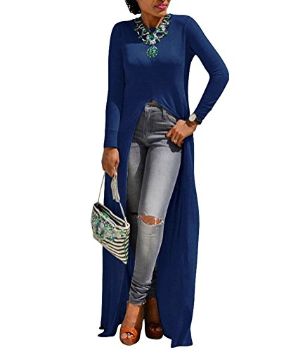 Womens Sexy High Front Split Long Sleeve Crewneck Clubwear Cocktail Maxi Dress Blue 3XL