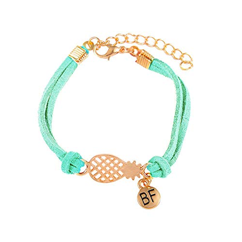 NIHAI Simple Women Charm Bracelet, Flannel Alloy Bangle, Hollow Pineapple Letter BF Round Pendant Bracelets for Ladies Girls (Mint Green)