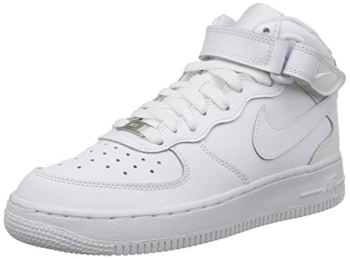 Nike Air Force 1 Mid (GS) Big Kids Sneakers White/White 314195-113 (5.5Y US) (Nike Air Force)