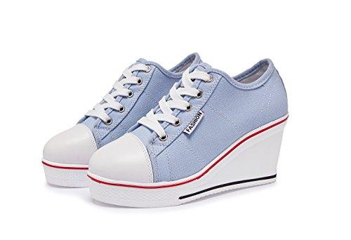 Chaussure Baskets Mode Sport Compensées Chaussures en Zetiy de Sneakers Toile Femme dTAwnqnIZ