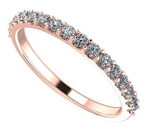 NaNa Simulated Diamond Wedding Ring Swarovski Zirconia Sterling Silver- Stackable Ring-Wedding Band-Rose Gold Plated-Size 6.5