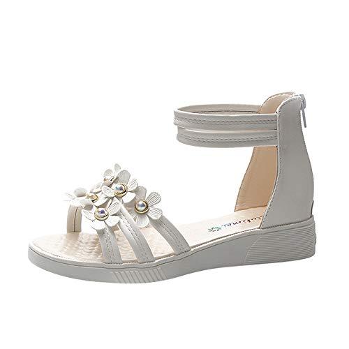 MOIKA Damen Sandalen, Mode Frauen Blume Strass Schuhe Rutschfeste Flache Sandalen Reißverschluss Rom Sandalen Weiß