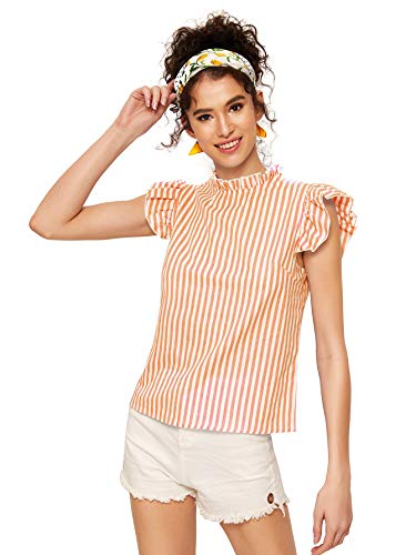 Romwe Women's Cotton Stripe Ruffle Sleeve Elegant Blouse Summer Top Orange X-Small