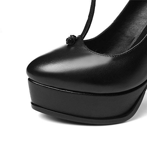 Nine Seven Cuero Plataforma Puntiagudos Tacones de Tacón Aguja con Correa en T para Mujer negro