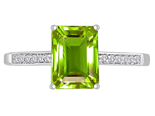 Emerald Cut Peridot Solitaire Ring - 1