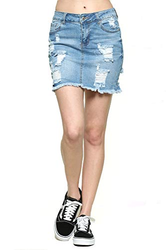 Urban Look Women's Distressed Denim Mini Skirts (Medium, B Light Wash)