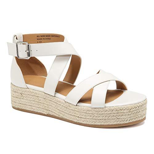 - VANDIMI Sandals for Women Espadrille Platform Sandals Straw Wedge Cross Ankle Strap Open Toe Shoes Summer Casual Peep Toe Mid Heel Flat Sneaker
