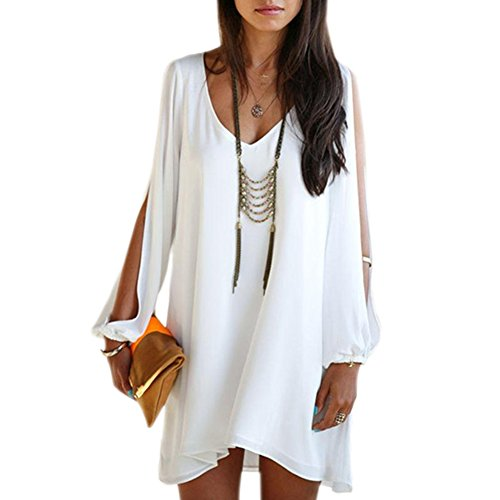 Chen Women Summer Casual Sleeveless Party Evening Cocktail Col-v Mini Dress (10, White)