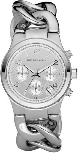 Michael Kors Chronograph Chain Bracelet Silver Dial Women's watch (Silver Chain Bracelet Watch)