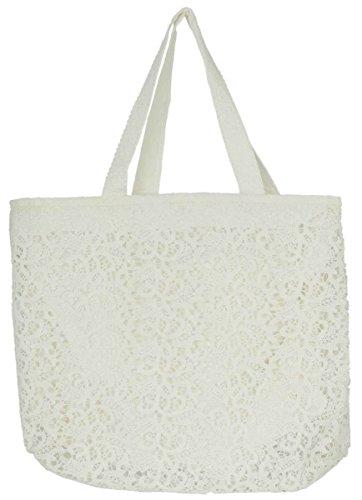 CR0138 Clayre & Eef - Sacco di tela - Borsa - Bianco ca. 53 x 10 x 40 cm